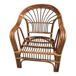 Vintage Boho Rattan & Bamboo Armchair