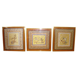 Vintage Framed Asian Silk Embroidery Panels - 3