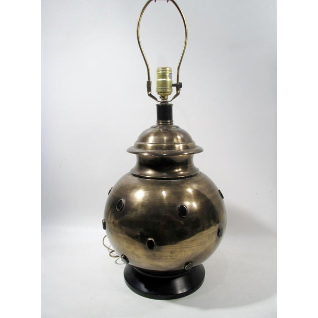 Moroccan Style Jeweled Brass Table Lamp - Image 5 of 6