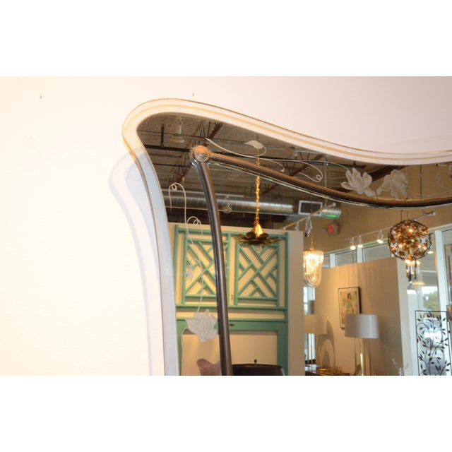 Attributed to Pietra Cheisa for Fontana Arte Mid Century Modern Italian Etched Glass Mirror - Image 5 of 6