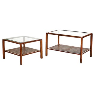 1960s Walnut & Glass Top Tables - A Pair