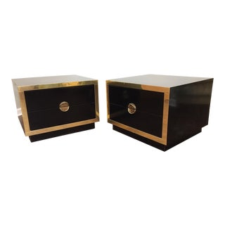 Hollywood Regency Black Lacquer and Brass Asian Nightstands - A Pair