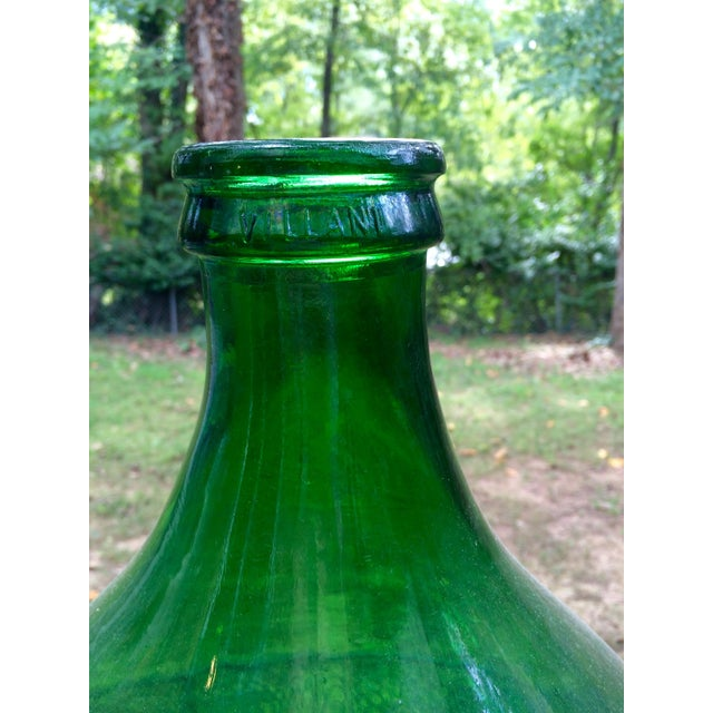 Image of Vintage Italian Green Glass 54 Liter Demijohn