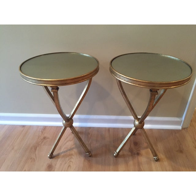 Pearson Mitchell Gold Metal Tripod Tables - A Pair - Image 3 of 4