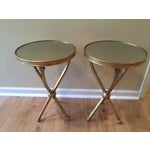 Image of Pearson Mitchell Gold Metal Tripod Tables - A Pair