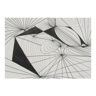 1965 Modernist Abstract In Ink Drawing