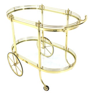 Two-Tier Polished Brass Glass Rolling Serving Bar Cart