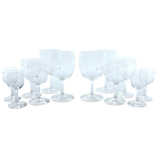 Vintage Etched Wine Glass Set - Set of 12