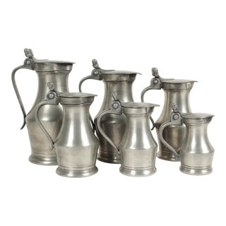 Vintage French Pewter Pitchers - Set of 6