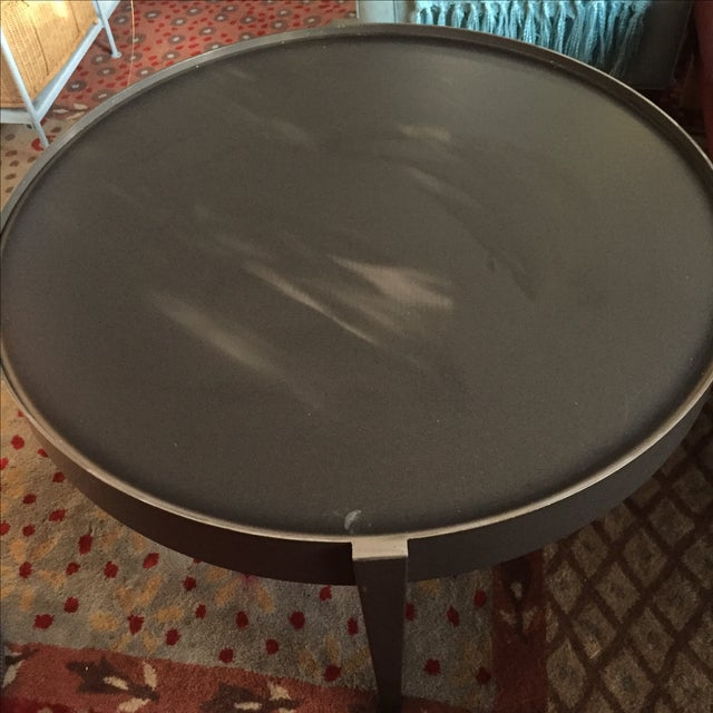 Crate & Barrel Round Metal Coffee Table - Image 5 of 5
