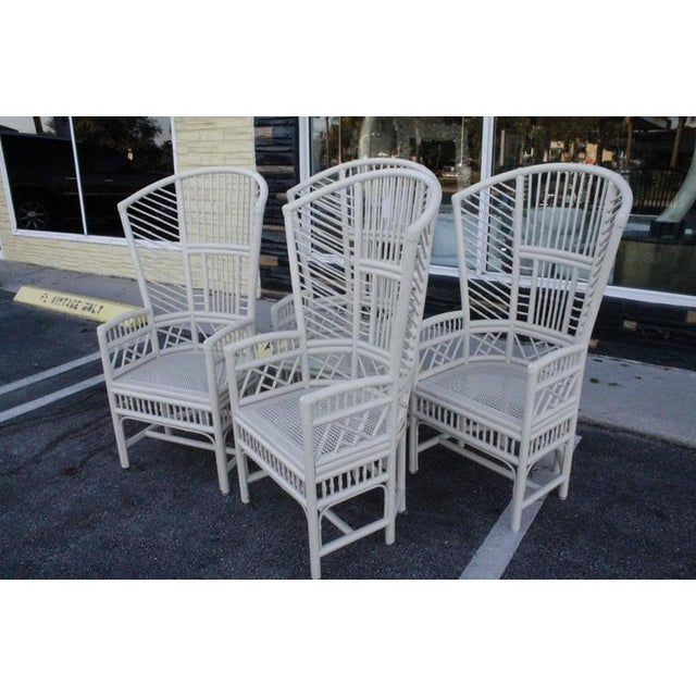 Brighton Pavilion High Back Rattan Chinese Chippendale Chairs - Set of 4 - Image 3 of 11