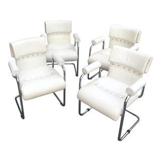 Guido Faleschini for Mariani White Leather and Chrome Dining Chairs - Set of 4