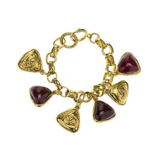 Chanel Vintage Gold Dark Red Gripoix Bracelet