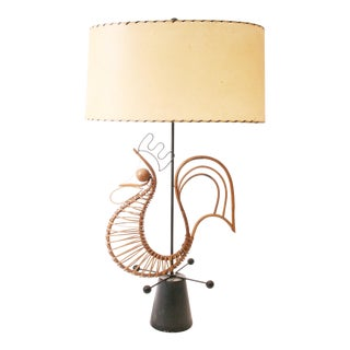 Frederick Weinberg Mid Century Modern Wicker Table Lamp