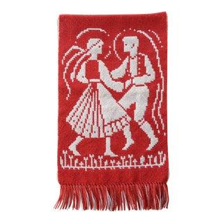 Vintage Finnish Folk Art Wall Tapestry