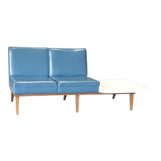 Mid-Century Modern Aqua Blue Loveseat Bench with End Table