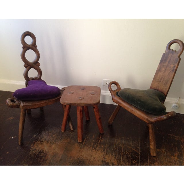 Primitive Carved Chairs & Stool - Set of 3 - Image 4 of 10