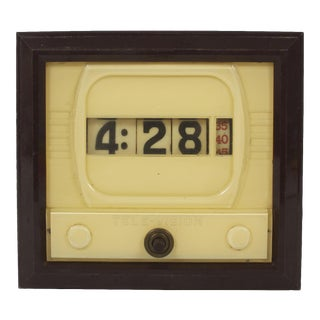 Tele-Vision Clock - Flip Numbers - Bakelite TV Clock