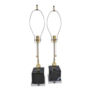 Italian Marble & Gold Leaf Console Lamps - a Pair