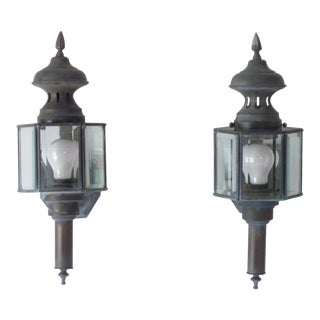 Vintage Copper Lantern Sconces - a Pair