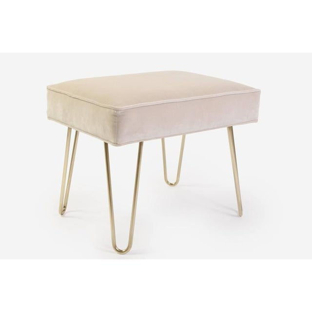 Petite Brass Hairpin Ottomans in Oyster Velvet by Montage - Image 3 of 8