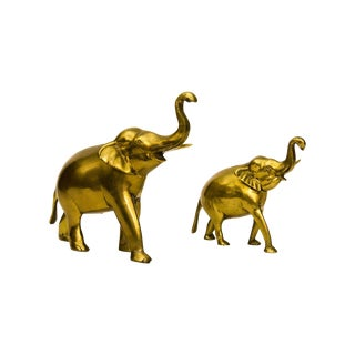 Solid Brass Indian Elephants - A Pair