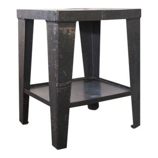Vintage Industrial Rustic Steel and Metal End-Side Table-Stand with Shelf