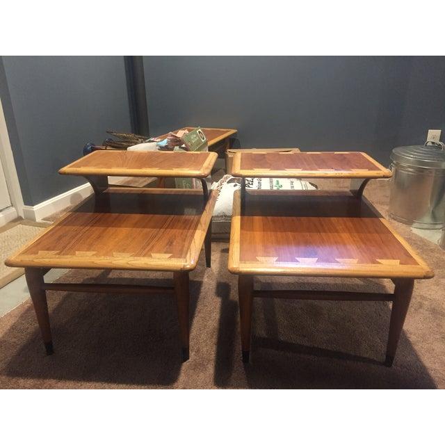 Used Lane Coffee Table: Vintage Lane 2 Tier Side Table Set - 2