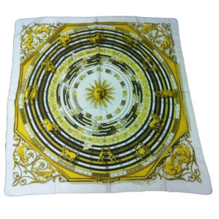 Vintage Hermes Scarf - White & Yellow Sun
