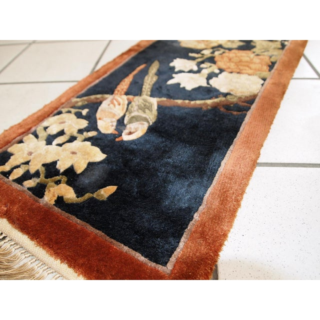 1980s Handmade Vintage Silk Chinese Mat Rug - 1' x 2' - Image 2 of 9