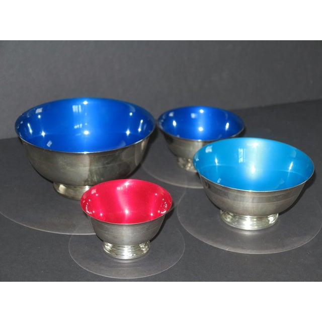 Reed & Barton Revere Silverplate Enamel Bowls - Set of 4 - Image 5 of 5