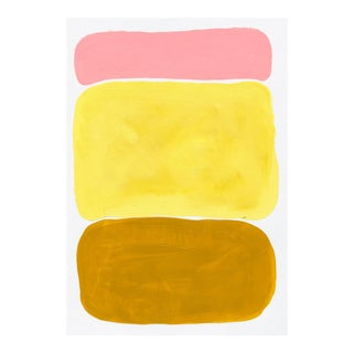 Contemporary Geometric Yellow & Pink Acrylic Painting