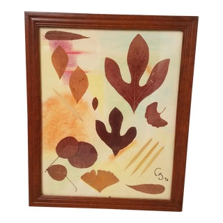 Vintage Mixed Media Pressed Leaves and Pastel Picture