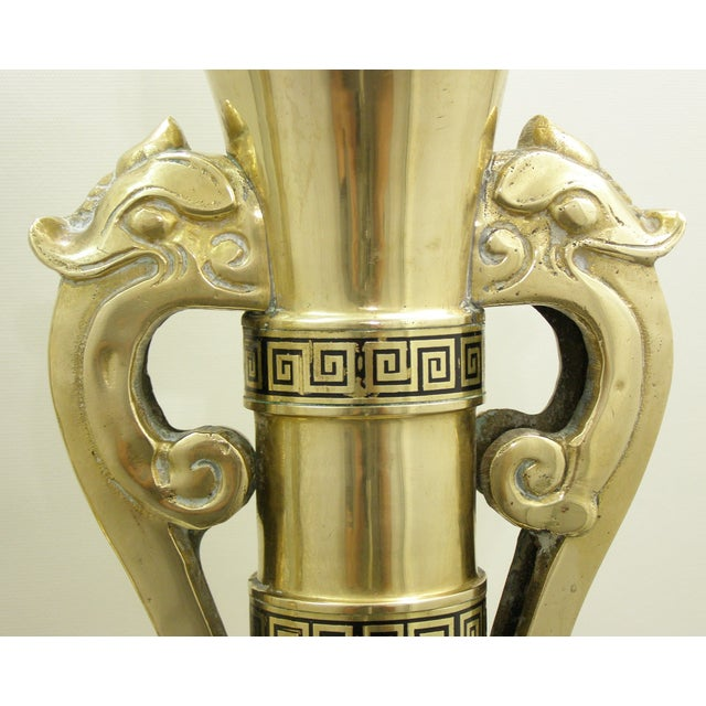 Monumental Large Asian Brass Table Lamps Mid-Century Modern McM- a Pair - Image 9 of 11