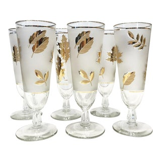 Libbey Gold Leaf Pilsner Beer Glasses, Set of Six