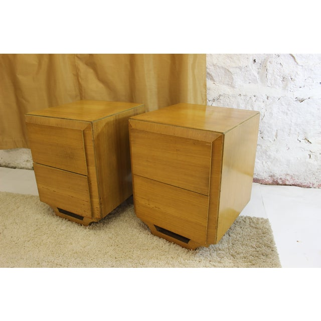 Image of Blonde Mid-Century Modern Nightstands - Pair