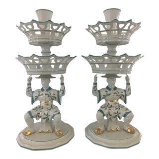 Pair of Mottahedeh Famille Verte Chinoiserie Epergnes