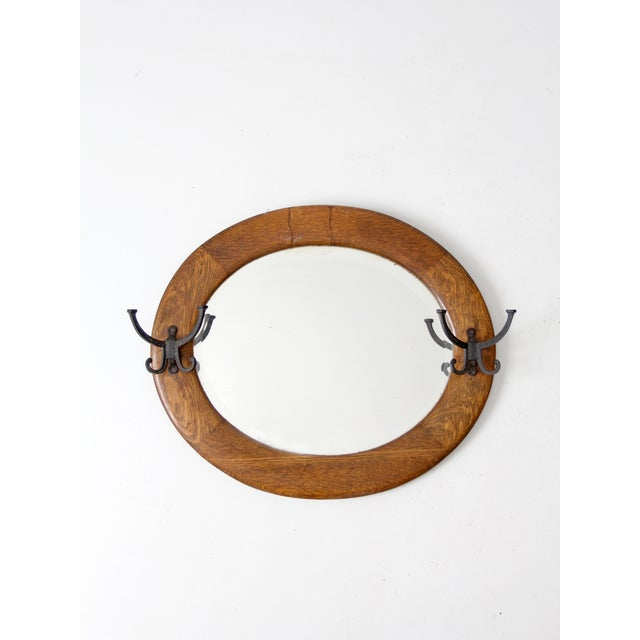 Antique Entry Mirror With Coat Hooks Chairish