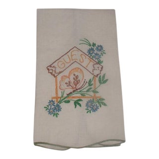 Hand-Embroidered 1950s Linen Guest Towel