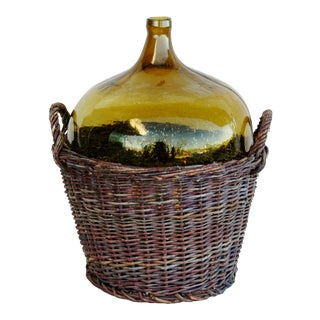 Jumbo French Country Demijohn Bottle & Basket