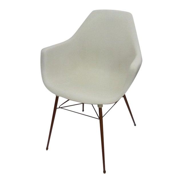 Image of Sam Avedon for Alladin Plastics Mid-Century Modern White Molded Shell Armchair