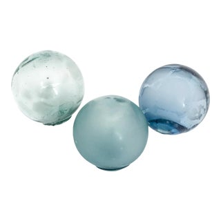 Hand-Blown Sea-Colored Fishing Floats - Set of 3