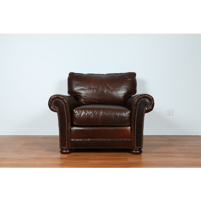 Brown Leather Chair With Ottoman - Image 4 of 11