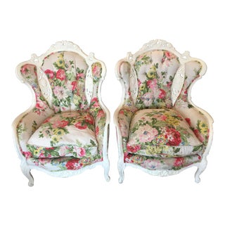 Vintage Hollywood Regency Wingback Chairs - A Pair