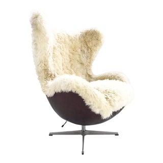 Arne Jacobsen for Fritz Hansen Egg Chair Restored in Brazilian Sheepskin and Leather