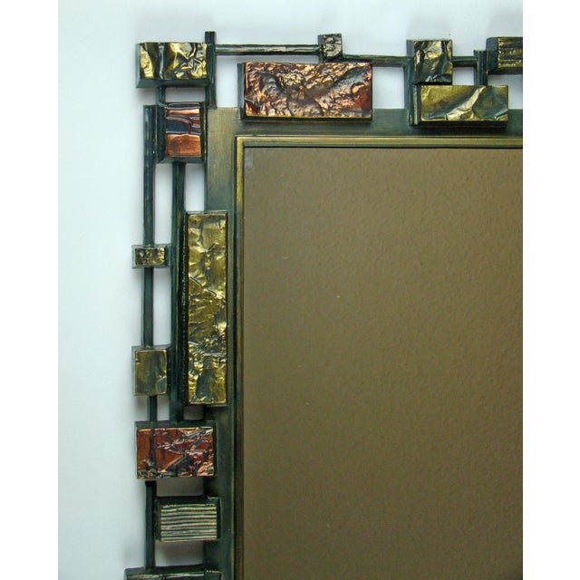 Syroco Paul Evans Style Brutalist Mid-Century Modern Wall Mirror - Image 7 of 9