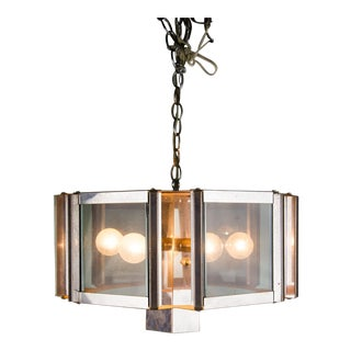 Chrome Smokey Glass Mid-Century Modern Pendant Light