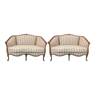 French Style Settees in Linen - A Pair