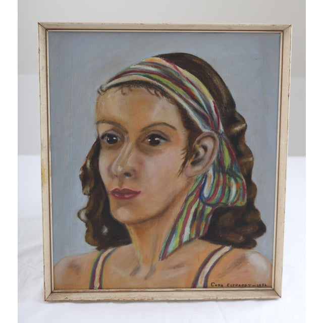 Vintage Portrait of Woman Oil Painting - Image 2 of 7