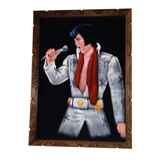 1995 Vintage Large Framed Velvet Elvis Painting - Image 1 of 4